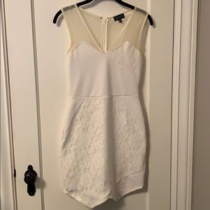 Top shop white with lace body con dress